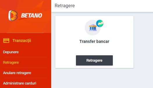 betano romania retragere transfer bancar