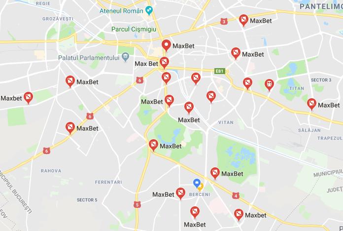 maxbet romania harta cu locatii in Ro