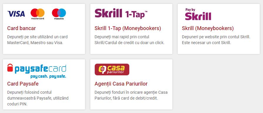 agentia casa pariurilor - metode de plata visa, skrill, paysafecard