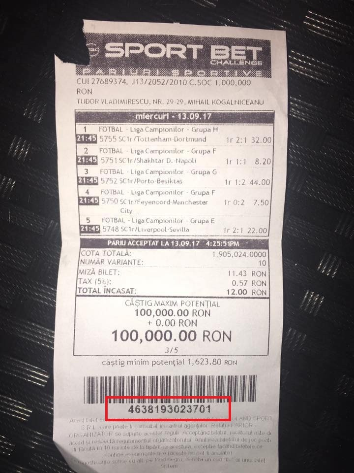 verificare bilet pariuri sportive sport bet