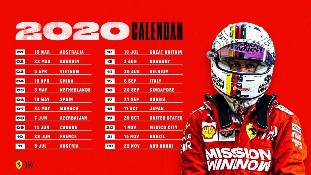 formula 1 calendarul evenimentelor sportive (c) ferrari.com