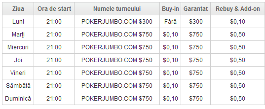 Program turnee poker jumbo