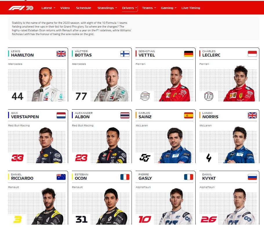 formula1.com jucatorii pentru evenimente sportive 2020