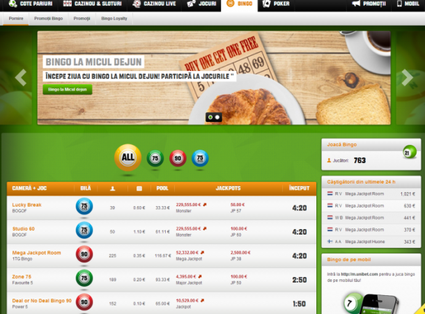 Interfata site Unibet Bingo