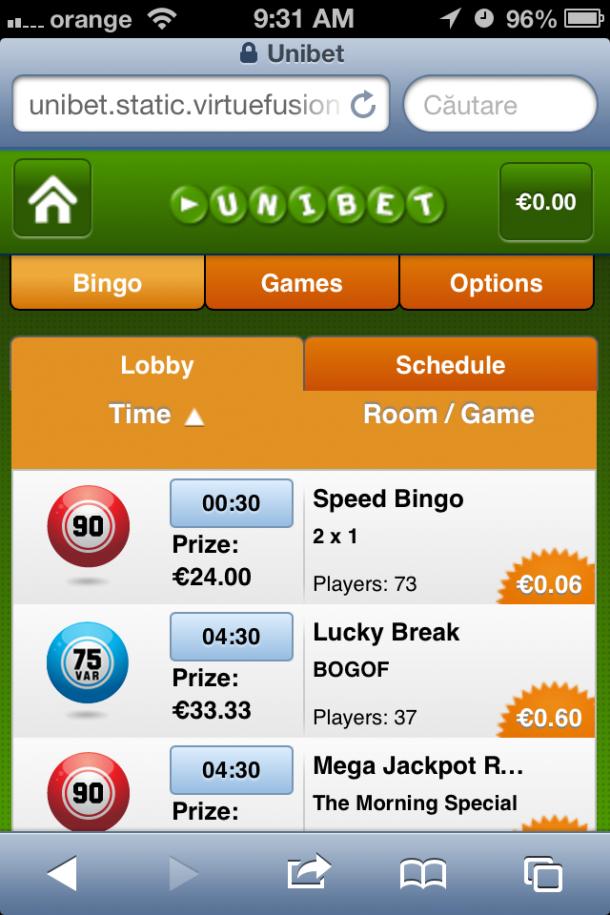Unibet Bingo mobile