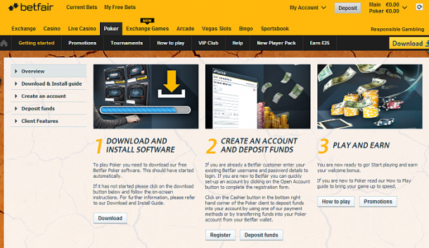 Interfata site Betfair Poker