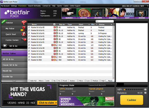 Mese rookie la Betfair Poker