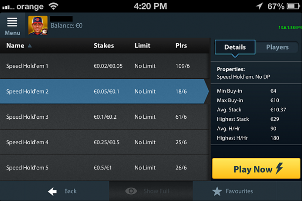 Betfair Poker mobile