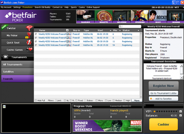 Turnee saptamanale Betfair Poker