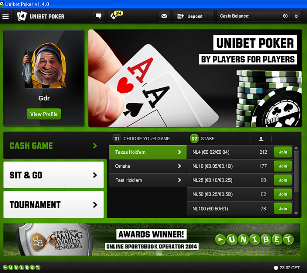 Interfata aplicatie Unibet Poker