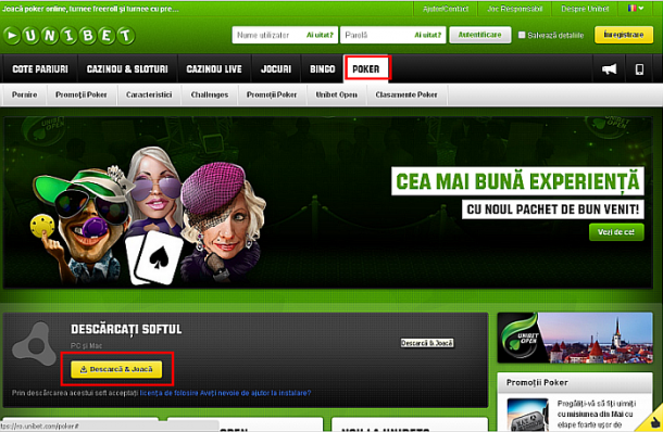 Interfata site Unibet Poker