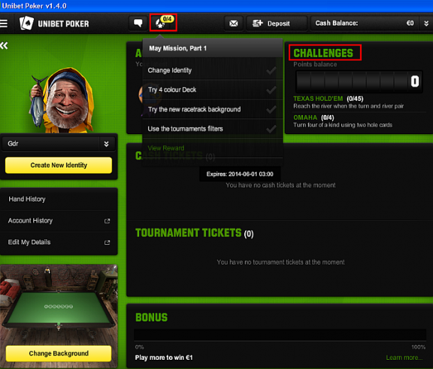 Misiuni si provocari la Unibet Poker