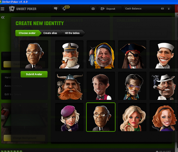Schimbare avatar la Unibet Poker
