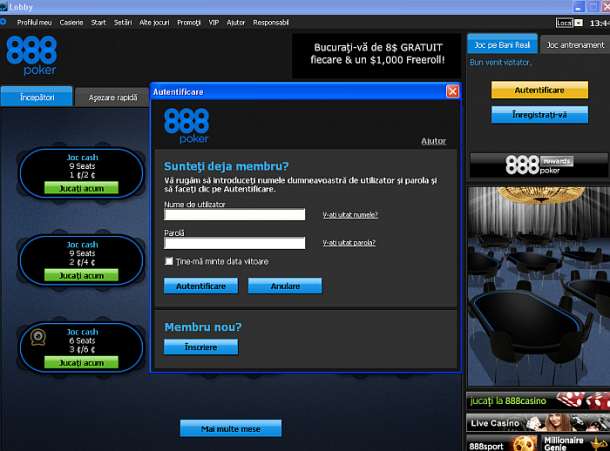 Interfata aplicatiei 888Poker