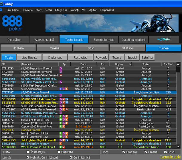 888Poker turnee freeroll