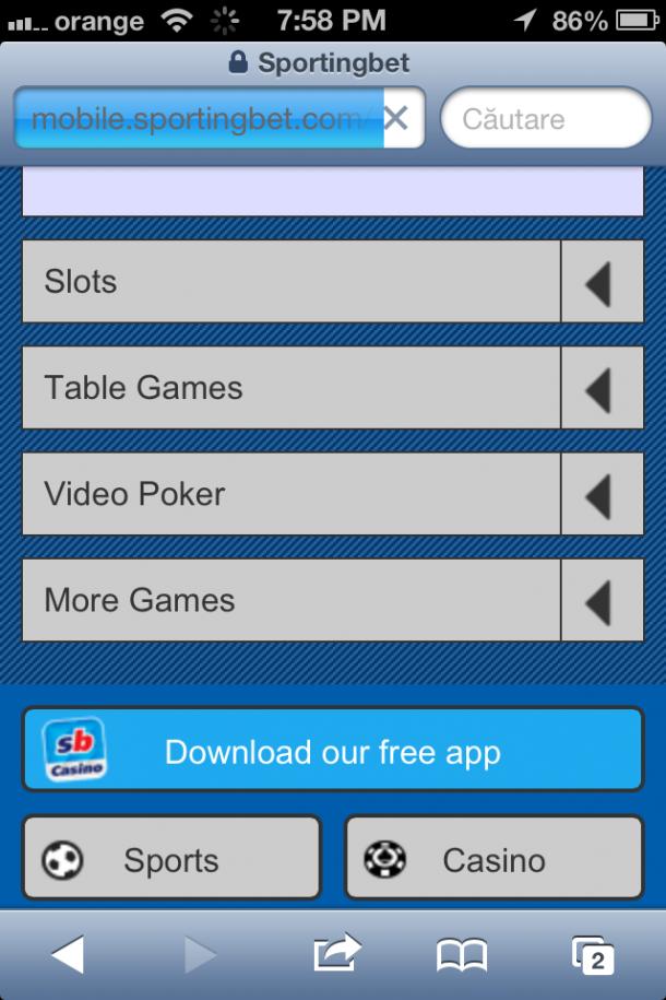 Sportingbet Casino pe mobil