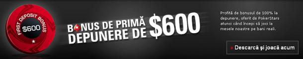 Bonus 600$ la Pokerstars