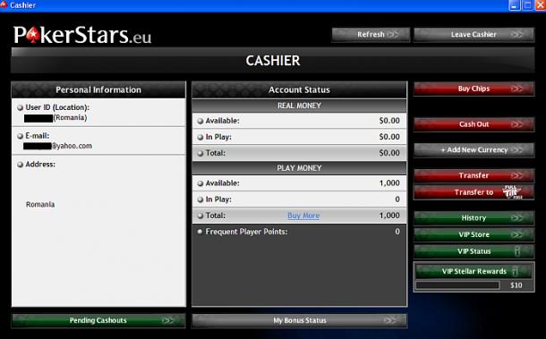 Cashier Pokerstars