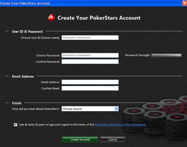 Deschidere cont Pokerstars