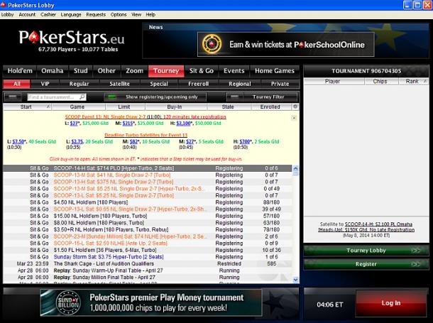 Interfata aplicatie Pokerstars