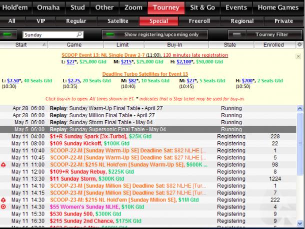 Sunday tournaments Pokerstars