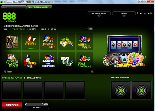 Video poker la 888Casino