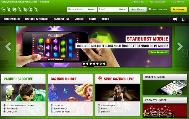 Pagina introductiva Unibet Casino