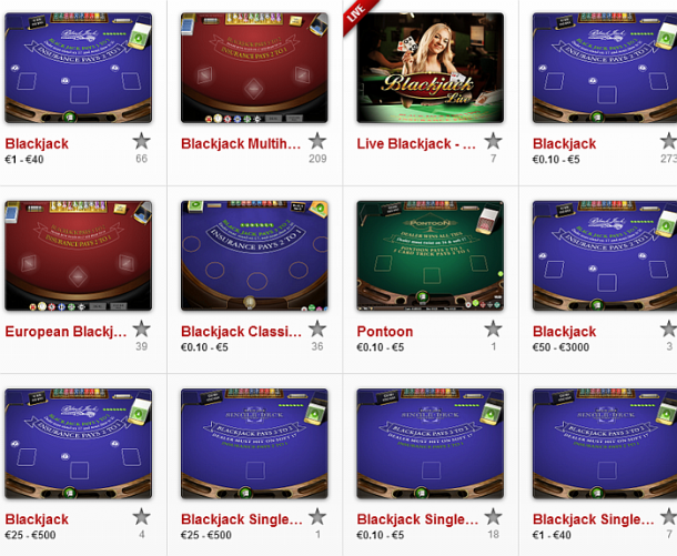 Tipuri blackjack la Unibet Casino